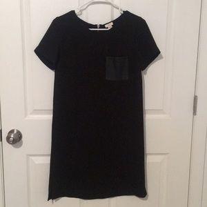 JCrew Black T-shirt Dress with Leather Pocket
